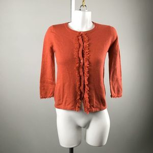 Kate Spade Burnt Orange Fringe Cardigan XS